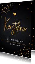 Kerstdiner uitnodiging goud confetti