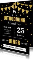 Kerstdiner uitnodiging typografie slinger goud