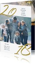 Kerstkaarten - Kerstkaart 2018 Goud Glitter Sparks