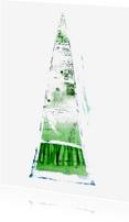 Kerstkaarten - Kerstkaart abstracte groene kunstboom