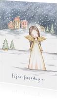 Kerstkaarten - Kerstkaart engel in sneeuwlandschap
