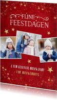 Kerstkaarten - Kerstkaart enkel met rode achtergrond en gouden sterren
