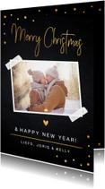 Kerstkaart foto confetti goud krijtbord