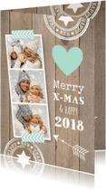 Kerstkaarten - Kerstkaart foto hout hartje mint - LB
