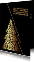 Zakelijke kerstkaarten - Kerstkaart gouden kerstboom variabele achtergrond