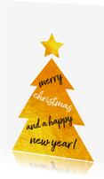 Kerstkaarten - Kerstkaart gouden kerstboom