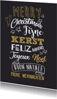 Nieuwjaarskaarten - Kerstkaart handlettering goud wit av