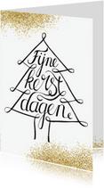 Kerstkaarten - Kerstkaart handlettering kerstboom glitter