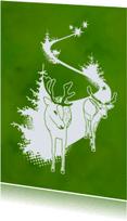 Kerstkaarten - Kerstkaart Hertjes Groen