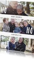 Kerstkaarten - Kerstkaart 'HO HO HO' met sneeuwvlokjes