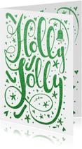 Kerstkaarten - Kerstkaart Holly Jolly - glitter groen - LO