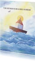 Kerstkaarten - Kerstkaart illustratie zee boot