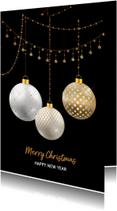 Kerstkaart kerstballen wit met goud