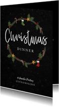 Kerstkaart kerstdiner uitnodiging hip met illustraties
