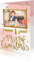 Kerstkaarten - Kerstkaart kinderfeestje aquarel foto glitter