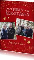 Kerstkaarten - Kerstkaart klassiek rood met gouden sterren en eigen foto's
