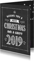 Zakelijke kerstkaarten - Kerstkaart Krijtbord happy 2019