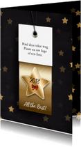 Zakelijke kerstkaarten - Kerstkaart label 2018 goud RB