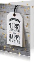 Kerstkaarten - Kerstkaart label sterren