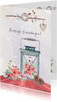 Kerstkaarten - Kerstkaart lantaarn en kerstroos