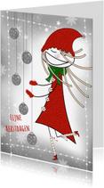 Kerstkaarten - Kerstkaart meisje en kerstballen