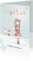 Kerstkaarten - Kerstkaart meisje in de sneeuw met kerstversiering