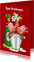 Kerstkaarten - Kerstkaart met aapjes en champagne - HE