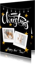 Kerstkaarten - Kerstkaart met collage op zwart met gouden sterren