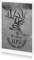 Kerstkaarten - Kerstkaart met een foto van een hert met groot gewei