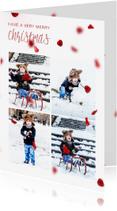 Kerstkaarten - Kerstkaart met foto's en rode blaadjes