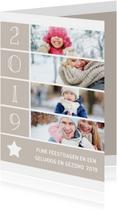 Kerstkaarten - Kerstkaart met foto's, ster en jaartal 2019