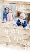 Kerstkaarten - Kerstkaart met hout-look, eigen foto's & sneeuweffect