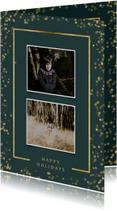 Kerstkaart met twee foto's en goudlook kader