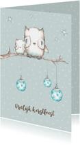 Kerstkaarten - Kerstkaart met uiltjes in boom met kerstballen