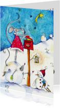 Kerstkaarten -  Kerstkaart muizen kerstkaartje 5