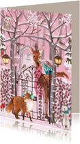 Kerstkaarten - Kerstkaart Schattig Dieren Bos