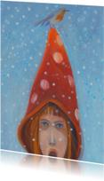 Kerstkaarten - kerstkaart schilderij roodborst
