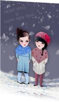 Kerstkaarten - Kerstkaart Sneeuw Loulou & Ting