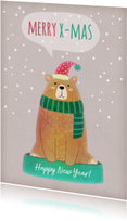 Kerstkaarten - Kerstkaart staand beer met muts - BK