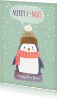 Kerstkaarten - Kerstkaart staand pinguïn met muts - BK