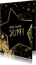 Kerstkaarten - Kerstkaart ster 2019 goud