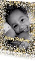 Kerstkaarten -  Kerstkaart stijlvol met foto  en sterren en twinkelingen