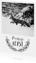 Kerstkaarten - Kerstkaart van een vos in de sneeuw