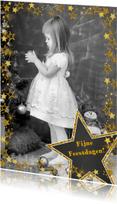 Kerstkaarten - Kerstkaart vrolijk fotokader met goudkleurige sterren