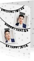 Zakelijke kerstkaarten - Kerstkaart zakelijk letterslingers foto's zwartwit