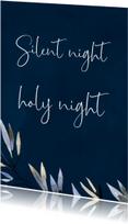 Kerstkaartje Silent Night, donkerblauw