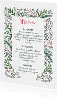 Menukaarten - Kerstmenu dennetakjes elegant