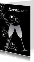 Menukaarten - Kerstmenu zwart design - LB