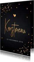 Kerstmenukaart met gouden confetti