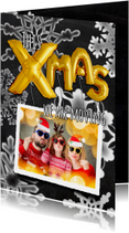 Kerstkaarten - Kerstverhuiskaart ballonnen 2019 goud op krijtbord